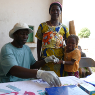 Child being tested for malaria in Senegal