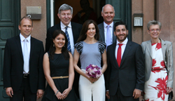 Dean Henrik Dam, The Faculty of Law, Stephanie Arrowsmith, rector Ralf Hemmingsen, HRH Crown Princess Mary, prorector Thomas Bjørnholm, Johanan Ottensooser, dean Ulla Wewer, The Faculty of Health and Medical Sciences