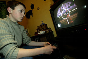 Child playing computer game
