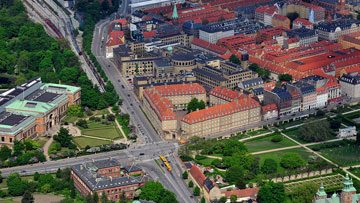Sølvgade Barracks seen from the air. To the left is National Gallery of Denmark and The Natural History Museum of Denmark. In front of the Barracks is The King's Garden.